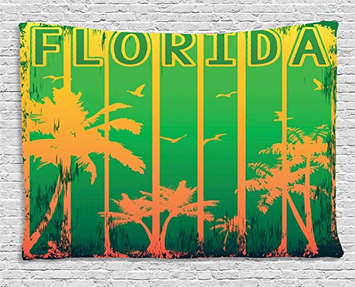 VTXWL Florida Tapestry, Coastal City in California Worn Out Composition with Beach Trees, Wall Hanging for Bedroom Living Room Dorm, 80 W X 60 L Inches, Lime Green Fern Green Orange