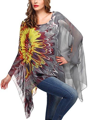 DJT Women Bohemian Hippie Oversized Batwing Sleeve Chiffon Loose T-Shirt Tops Blouse