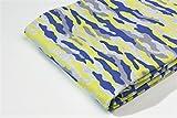 Jersey Stoff gemustert als Meterware |Muster: Camouflage blau-gelb|50cm x 80cm|92% Baumwolle, 8% Elasthan|Mehrere Farben zur Auswahl|Jersey|1buy3