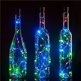 Luci Bottiglie, 6 pezzi, 30 pollici, 15 LED, luci per bottiglie a forma di tappo di sughero per le bottiglie della festa di Natale bianco caldo anche per Festa, Giardino, Halloween, Matrimonio