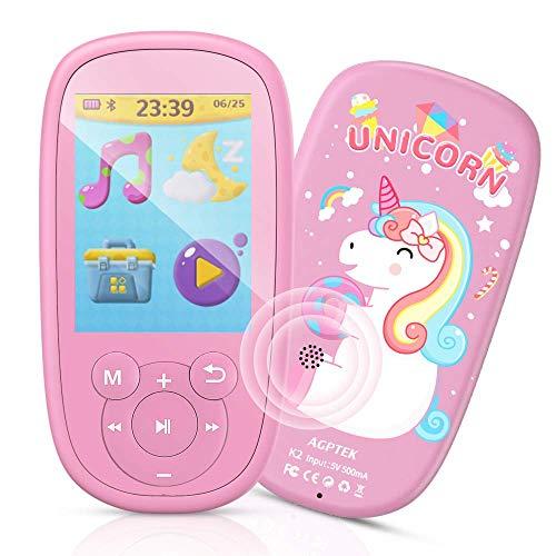 AGPTEK MP3 Enfant Bluetooth 8Go Licorne Design avec Haut-Parleur, Lecteur de Jeux Ecran 2.4'' Ecouteur et Corde Inclus, Baladeur Musical Sport Radio FM Vidéo Enregistreur pour Cadeau de Fête-Rose