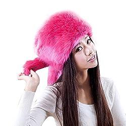 URSING Mode Damen Fellmütze Wintermütze Behalten Warm Kunstpelz Kopfbedeckung Schnee Hut Deckel Retro Pelzmütze Faux Pelz Kopftuch Hat Mongolische Mütze Damenpelzmütze (50-60cm, Pink)