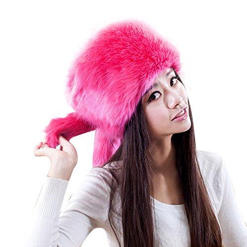 50 Damen Mütze (URSING Mode Damen Fellmütze Wintermütze Behalten Warm Kunstpelz Kopfbedeckung Schnee Hut Deckel Retro Pelzmütze Faux Pelz Kopftuch Hat Mongolische Mütze Damenpelzmütze (50-60cm, Pink))