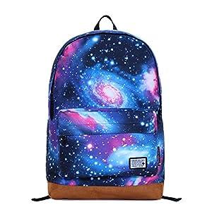Mochila hombros de lona de la manera de la galaxia del universo Star Girl bolsa (azul)