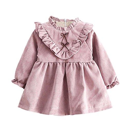 Baby bekleidung❤️JYJM❤️Kleinkind Kinder Baby Mädchen Herbst Langarm Prinzessin Kleid Outfits Kleidung (Größe: 24 Monate, Lila)