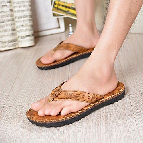 Les tongs hommes, toe vent anglais, pantoufles en cuir, chaussures de plage européens et américains, sandales décontractée, chaussures de sport Yellow