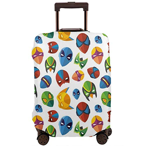 Travel Luggage Cover,Legendary Cartoon Character Masks Flash Batman Spider-Man Comic Costume Suitcase Protector