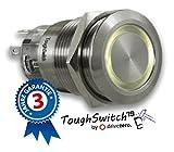 .drivezero. ToughSwitch '19 – Schalter Edelstahl (bis 230V / 5A) mit LED-Leuchtring Warmweiss 230V, staub- und wasserdicht (IP67)