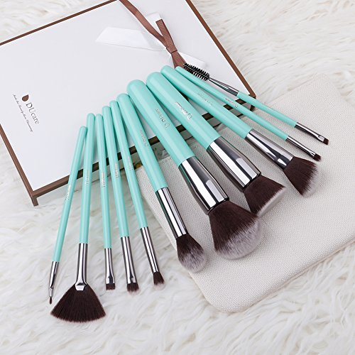 DUcare Makeup Brush Set 11pcs Professional Cosmetic Brushes with Soft Synthetic Fiber Bristles - Elegant Travel Pouch Included (11 Pcs Green)