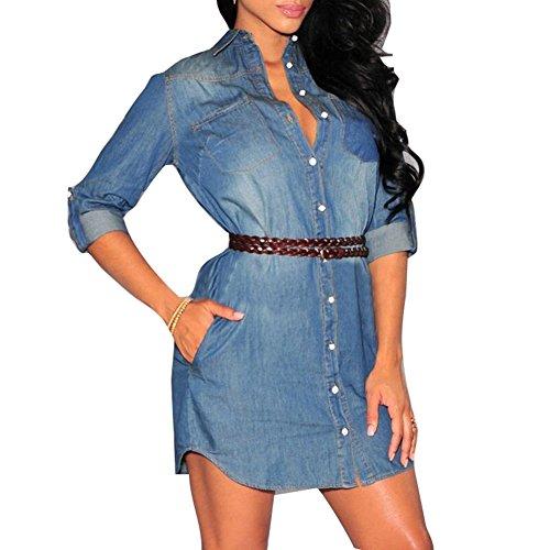 Highdas abiti denim donna classico casual manica lunga con cintura jeans mini abito camicia abito