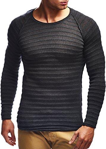 LEIF NELSON Herren Strickpullover Pullover Sweatshirt LN20708; Grš§e M, Anthrazit