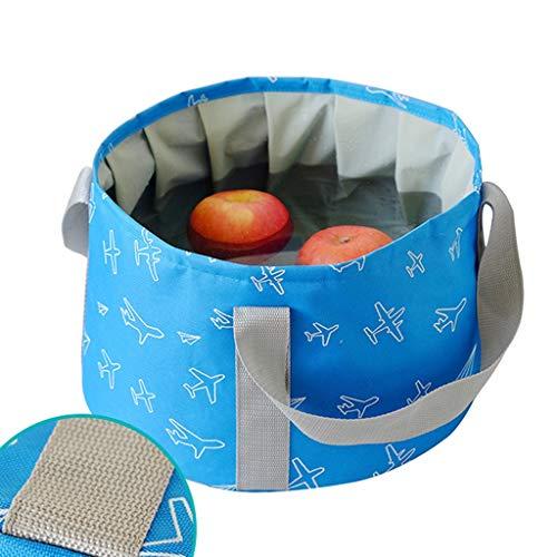 Lavabos de Salle de Bain Pliable lavabo Portable lavabo Voyage Pliant lavabo Voyage extérieur Sac Pliant (Color : Blue, Size : 19 * 29cm)