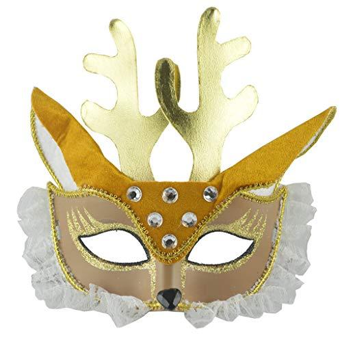 Huacat Halloween Maske Prom Spitze Fuchs Augenmaske niedliche Sikahirsch rosa edle Kaninchen Venezianische Maskenball Maskerade Valentinstag Party