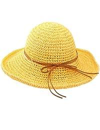 Urban GoCo Donne Moda Estate Spiaggia Bowknot Tesa Larga Pieghevole Cappello  della Benna Cappello da Sole 969f6d19ae5e