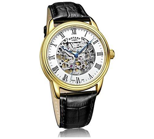 Rotary uomo cronografo scheletro nero orologio da polso.