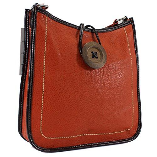 Femme en imitation cuir bouton Croix Corps Sac à bandoulière femmes sac bandoulière sacoche sac à main - orange