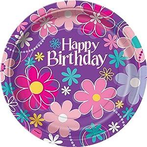 Partido Ênico 23 cm Platos Cumpleaños Fiesta Flor (paquete de 8)