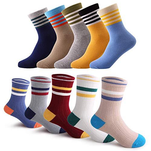 storeofbaby Kleinkind-Socken Weiche Non Skip Winter Cotton Seamless Crew Dress Socken 10 Paar