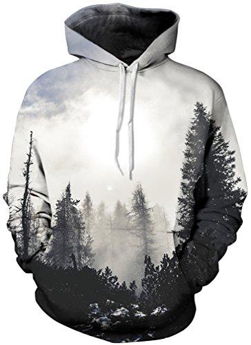 TDOLAH Herren Kapuzenpullover 3D Muster Spaß Karneval Weihnachten Halloween Sweatshirt (Größe L / XL, Grau Wald-7)