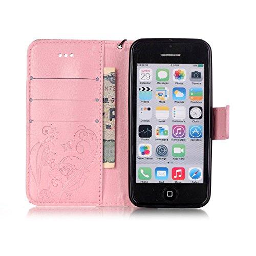 JIALUN-étui pour téléphone Avec slot pour carte, Lanyard, Pressure Beautiful Pattern Fashion Open Cell Phone Shell pour IPhone 5C ( Color : Pink , Size : IPhone 5C ) Pink