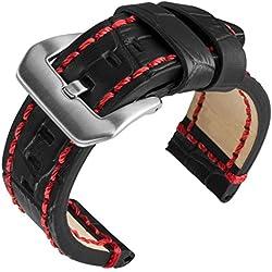 "24mm Geckota® ""Rugged"" Black Alligator Grain, Heavy Duty, Red Stitch Replacement Watch Strap"