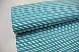 Stoff / 50cmx140cm / Kinder / beste Jersey-Qualität / Jersey Streifen gemischt türkis-weiß