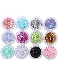 12 boîtes Maquillage Brillant Sequins Nail Sequins Visage Glitter, Star