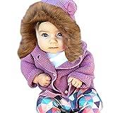 NPRADLA 2018 Kinder Mantel Mit Kapuze Baby Mädchen Jacke Kapuzenmantel Herbst Winter mit Ohren Dicke Warme Kaninchen Kleidung(Violett,70/6 Monate)