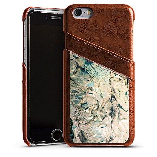 Apple iPhone 4 Housse Étui Silicone Coque Protection Pierre Grain Rochers Étui en cuir marron