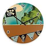 Wanduhr mit schönem Piraten-Motiv für Kinder | Kinderzimmer-Uhr | Kinder-Uhr