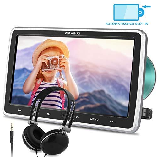 "BIGASUO 10.5"" Auto DVD Player Tragbarer Kopfstütze DVD Monitor HDMI Eingang 1080P HD Bildschirm mit Kopfhöre USB/SD AV Out & IN"