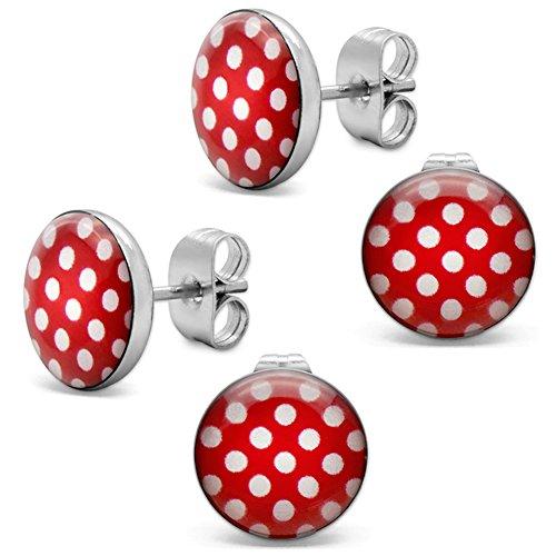 Soul-Cats® 2 par pendientes con puntos, Polka Dots 50's Pinup, Color rojo con puntos