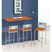Mesa de cocina abatible de pared 90x50 cm con tapa de cristal. Disponible en varios colores.