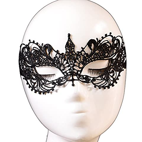 Yazilind Hot Lolita Gothic Masquerade Party Fancy Dress Butterfly Design Black Lace Mask