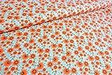 Qualitativ hochwertiger Jersey Stoff mit Blumen in Retro Look, (Rot/Orange/Grün/Mint) als Meterware mit Öko-Tex Zertifizierung zum Nähen von Erwachsenen bzw Kinderkleidung, 50 cm