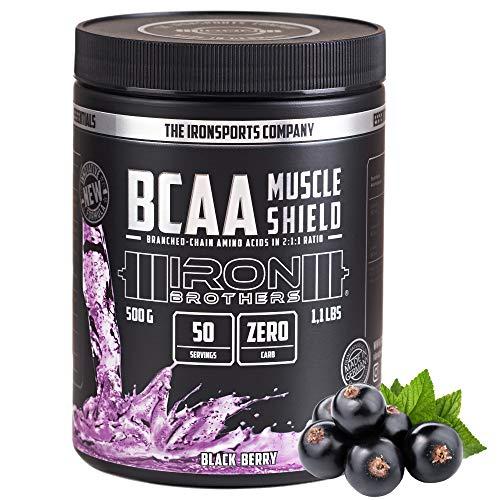 IRON BROTHERS® BCAA Muscle Shield | BLACK BERRY | Aminosäuren Leucin + Isoleucin + Valin im 2:1:1 Verhältnis | Leckere Geschmacksrichtungen | 500G Dose = 50 Portionen | MADE IN GERMANY