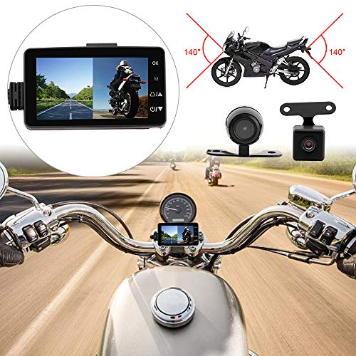 MASO Motorcycle Dash Cam Front and Rear Camera Waterproof Dual Video HD 1080p With IP68