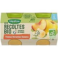 Blédina les Récoltes Bio 2 Petits Pots Pommes Nectarines Bananes 260 g -