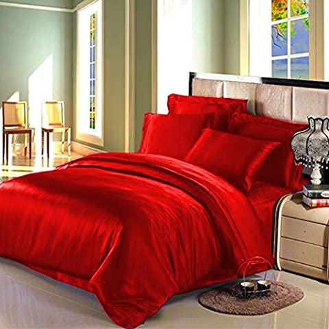 6 PIECE SATIN DUVET SET WITH FITTED SHEET AND PILLOW CASES SILK DUVET SET (King, Red)