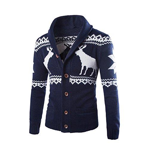 Calvin Klein Anzug Gefüttert (LOSORN ZPY Herren Beiläufiges Pullover Sweatjacke Sportjacke Strickpulli Mit weihnachtlichem Rentier-Motiv Weihnachten Geschenk)
