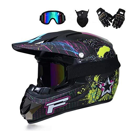 GG-helmet Full Face MTB Helm Motocross Motorrad für Erwachsene Offroad Helm Set Motorrad Downhill Sturzhelm Schutzausrüstung mit Schutzbrille Handschuhe Maske Helmnetz, schwarz (S, M, L, XL) - Spurs-motorrad-handschuhe