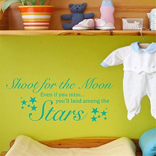 stickers muraux salon cerf Tirez pour la lune même si vous manquez, vous allez atterrir parmi les étoiles pour la chambre des enfants de crèche