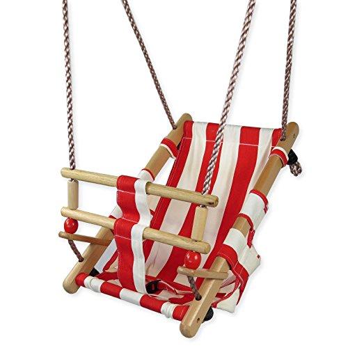 Altalena per bambini fino a 3 anni , per uso interno e esterno , legno con stoffa rossa/bianca della gartenpirat