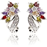 YAZILIND Dazzling Rhodium Plated Colorful Cut Flawless Cubic Zirconia Twisted Flower Claw Stud Earrings