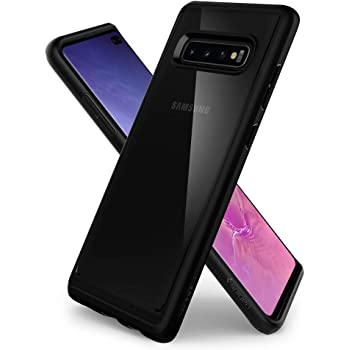 Spigen Coque Galaxy S10 Plus, Coque S10 Plus [Ultra Hybrid] AIR Cushion/Transparent Hard Back Panel + TPU Bumper Protection Compatible avec Samsung Galaxy S10 Plus, S10+ [Matte Noir]