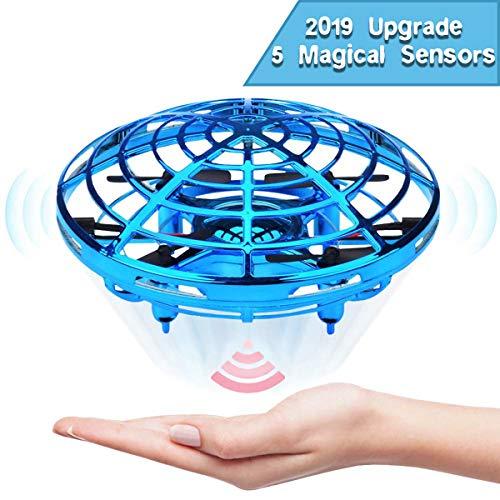 JIAMA Flying Ball, Mini UFO Drone Bola voladora RC Flying Juguetes, Recargable Drone Helicóptero Inducción Infrarroja Bola de Vuelo Sensores Luces Giratorias De 360 °LED Regalos para Niños (Azul)