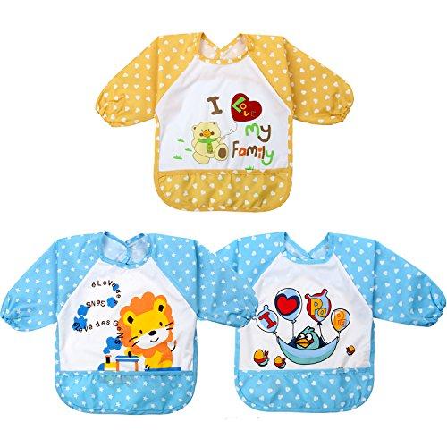 Discoball® Baby Kleinkind Jungen Karikatur Wasserdicht und Taschen Oberbekleidung Ärmellätzchen mit Klettverschluss für Essen und Malen (3 Stücke Set)