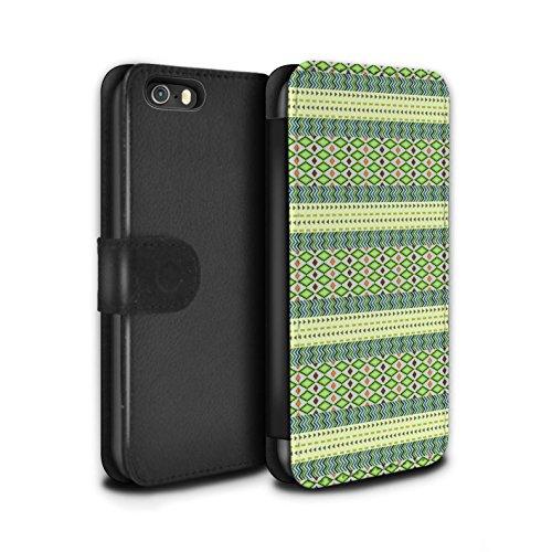 Stuff4 Coque/Etui/Housse Cuir PU Case/Cover pour Apple iPhone 5/5S / Pack 5pcs Design / Motif Tribaux Aztèques Collection Vert