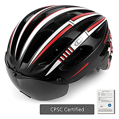 Shinmax Bike Adults Helmet, Road Bicycle Helmet with Removable Eye Shield and Detachable Goggles for Men&Women Cycling Moutain Road Helmet with Detachable Safety Rear Led Light from Shinmax