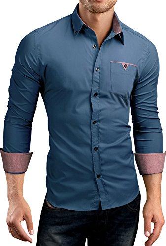 Grin&Bear Slim Fit Shirt Hemd Herrenhemd button down Kontrast Pocket SH524524 Petrol